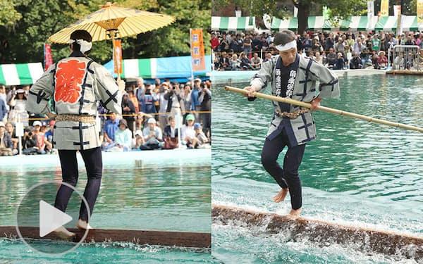 木場の角乗 水上で角材操る技を披露し半世紀