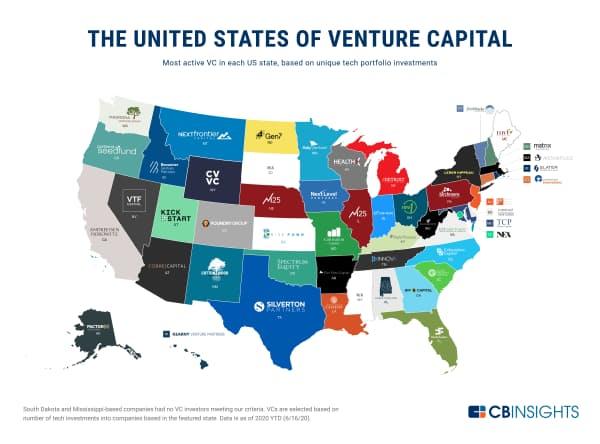米各州の最もアクティブなVC(サウスダコタ州とミシシッピ州では基準を満たしたVCはなかった)
