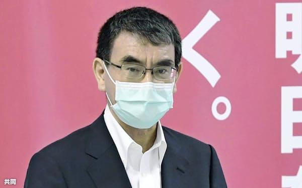 自民党本部で開かれた国防部会で発言する河野防衛相(25日、東京・永田町)=共同