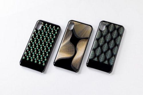 「NeCycle」で製造したスマートフォンケース。kenmaによるモダンデザイン3種(出所:NECプラットフォームズ)