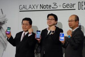 16日に韓国サムスン電子日本法人は都内でスマホ「ギャラクシー」などに関する記者会見を実施。エイベックス・グループ・ホールディングス林真司代表取締役CBO(右)が登壇し、新しい音楽配信サービスを発表した