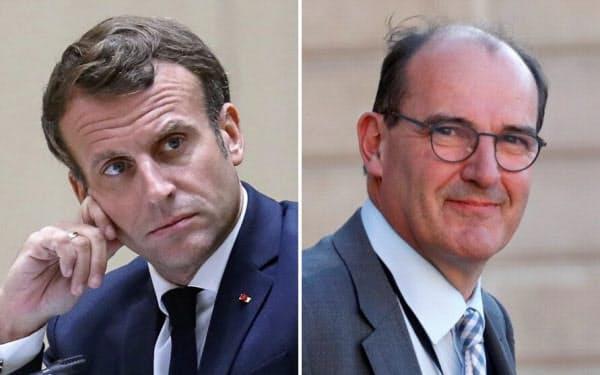 フランスのマクロン大統領(左)はフィリップ内閣の総辞職とカステックス氏(右)を首相とする新内閣で支持率回復を狙う=ロイター
