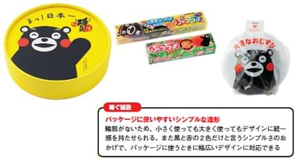 図2 パッケージに使いやすいシンプルな造形。写真左から順に、(1)お菓子の香梅「誉の陣太鼓」、(2)味覚糖「ぷっちょ くまモンワールド」「ぷっちょ すもも」、(3)ヒライ「爆弾おにぎり」。なお、熊本県外の企業が熊本県外で食品を販売する場合、熊本県産の原料を使うなどが必要