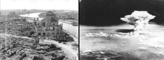 米軍機より撮影したきのこ雲(写真右)と広島県産業奨励館(原爆ドーム)、爆風がほとんど真上から到達したため建物の壁の一部は倒壊を免れた(ともに米軍撮影 広島平和記念資料館提供)