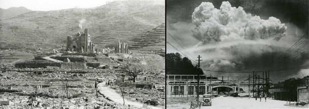 長崎市香焼町から見た原子雲(写真右、長崎原爆資料館 所蔵)と同市松山町から見た浦上天主堂(長崎原爆資料館 所蔵)