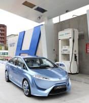 図1 水素社会を目指すプロジェクト。写真は、とよたエコフルタウン水素ステーションとトヨタ自動車の燃料電池車