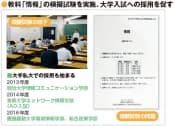 図3 情報入試研究会と情報処理学会情報処理教育委員会が、高等学校の普通教科「情報」の模擬試験を実施。大学入試への教科「情報」の採用を促進することを目的とする。実際に、大手私立大学では、教科「情報」を入試教科として採用する学部も出てきている