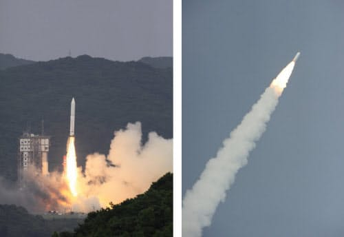 [左]写真1 打ち上げ直後のイプシロンロケット [右]写真2 打ち上げられたイプシロンロケット(写真:いずれもJAXA)