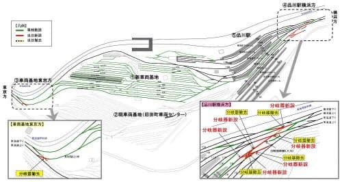 品川駅の線路切り替え工事の概要(資料:JR東日本東京支社)