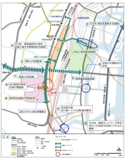 東京都が2007年に発表した品川駅・田町駅周辺まちづくりガイドラインから抜粋。車両基地跡地を核にした「東京サウスゲート」構想を提示している(資料:東京都)