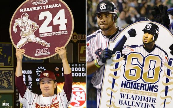 プロ野球の今季MVPを初受賞した田中投手(左)とバレンティン外野手=共同