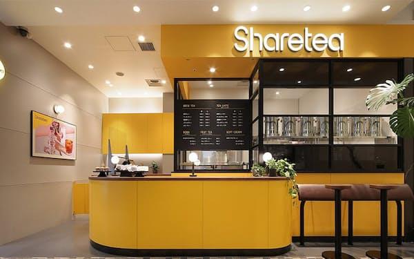 東京・新宿マルイ本館の1階にオープンした台湾茶専門店「シェアティー」の店舗外観