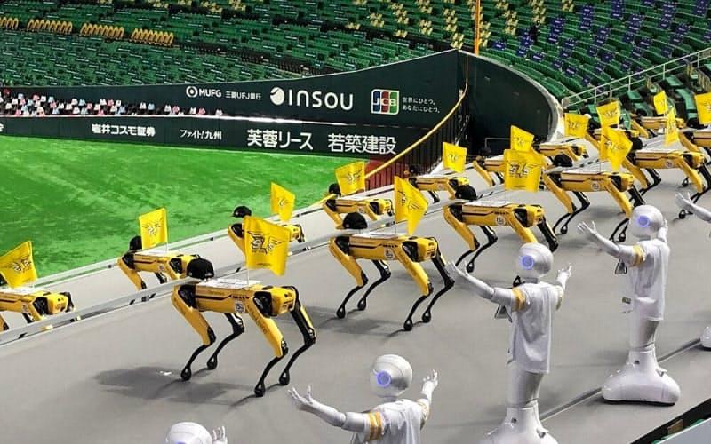 ダンスを披露する4脚ロボット「Spot」と人型ロボット「Pepper」(出所:アスラテック)
