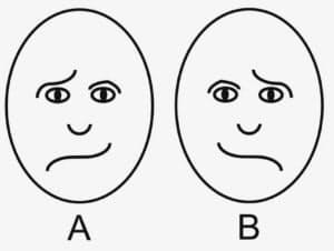 どちらの顔が楽しそうに見えるか? 右脳が優勢な人は図Aよりも図Bの顔をより楽しそうだと感じる傾向がある