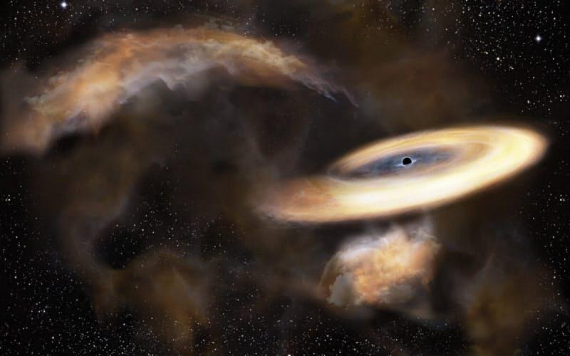 ブラックホールのイメージ図。ブラックホールは強い重力で周囲の物質を吸い込む一方で、プラズマガスであるジェットを噴出している(出所:国立天文台)