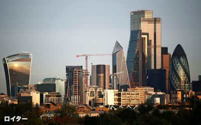 国際金融取引の指標金利となっているロンドン銀行間金利(LIBOR)は2021年末で廃止される(ロンドンの金融街シティー)=ロイター
