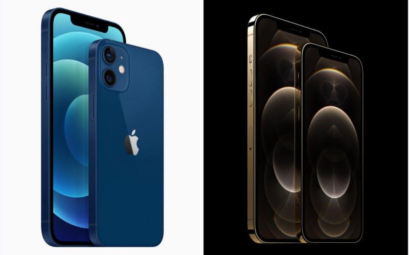 左からiPhone 12、同mini、同Pro Max、同Pro(出所:アップル)