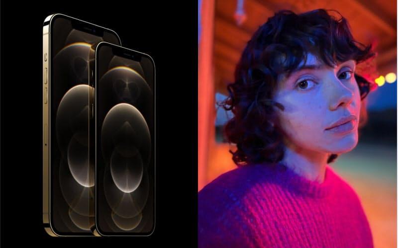 iPhone 12 Proシリーズとナイトモードでのポートレート撮影例(出所:アップル)