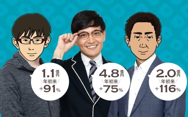 今年、中小型株投資で資産をほぼ倍増させたスゴ腕が集結。左から、べるさん(30代・会社員・ハンドルネーム)、井村俊哉さん(30代・会社経営)、AHOさん(40代・会社員・ハンドルネーム)