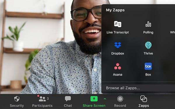 「Zapps」によってZoomの画面から利用できる対応アプリを開発し、提供できるようになる(出所 ズームの発表資料)