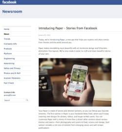 フェイスブックの新しいニュースアプリ「Paper」を紹介する同社サイト