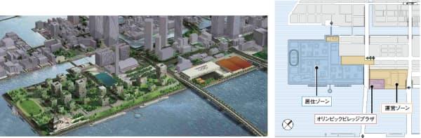 図4 選手村は44万平方メートルの巨大な街。左は選手村の整備イメージ。開発は民間事業者が担うので、設計は別途行われる。右は選手村のゾーン分け。大きく西側の居住ゾーンと東側の運営ゾーンに分かれ、居住ゾーンは五輪後に住宅となる。南北を貫く環状2号線がBRT(バス高速輸送システム)の路線となる予定だ