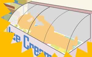 図1 アイスクリーム用冷蔵庫に入る若者