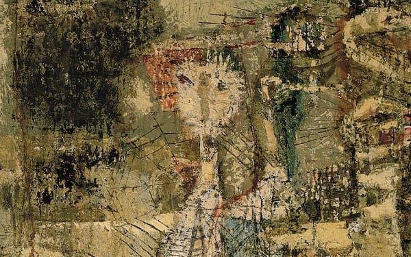 佐々木豊《動物祭トリA》(1959年、130.3×162.1センチメートル、油彩・キャンバス、個人蔵)