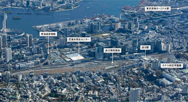 図1 JR品川車両基地を見下ろす。基地や線路を東側(海側)の半分に集約して、西側の半分を開発する。中央やや左付近にJRの新駅設置の構想もある(写真:川澄・小林研二写真事務所)
