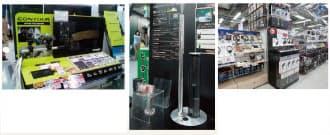 最近の家電量販店は、新興メーカーの製品を積極的に扱う傾向が強い。ヨドバシカメラのアクションカメラ売り場では、「GoPro(ゴープロ)」や追随したソニーに加え、新興のContour製品も目立つ場所に展示されている(左)。中央は、ヨドバシカメラが販促に力を入れる「cado加湿器HMC400」。金属を多用した高級感あふれるデザインは店頭でも目立つ。Beatsのヘッドホンは多くの量販店で目立つ位置に置かれている(右)