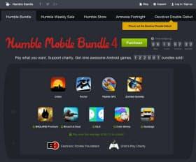 ハンブルバンドルのウェブページ。現在はアンドロイド用スマホゲームへの募金が求められている。募金をするとすでに販売されている4タイトルを、一定額を支払うと開発中の5タイトルを入手する権利を獲得できる