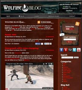 ウルフファイヤーゲームズの更新情報を伝えるブログ。画面下方が開発途中のゲームの映像