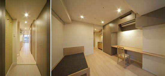 新看護師寮のアクティブケアの居室(写真提供:尾田氏)。照明は電球色のLED。壁面と床面のコントラストを低くしている