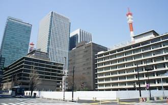 逓信総合博物館や東京国際郵便局があった一角は、35階と33階建てのツインタワーに生まれ変わる