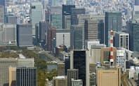 オフィスの縮小・整理が進んでいる(東京都心のオフィスビル)