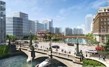 青空を取り戻した日本橋の風景(将来のイメージであり、実際の再開発計画等とは異なる)