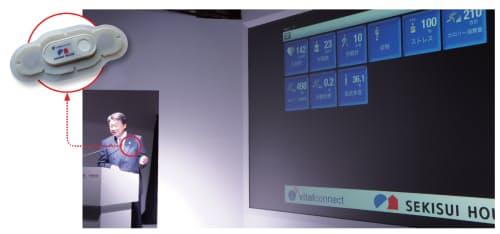 図1 積水ハウスが開発中の「ウェアラブルセンサー」と、2013年の東京モーターショーで機能を披露する同社の阿部俊則社長