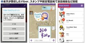 [左]図6 固定電話や携帯電話に電話を掛けられる「Viber Out」の利用画面。一定額のクレジットを購入すると、その分電話できる [中央]図7 LINE同様、スタンプ(「ステッカー」と呼ぶ)を使ったコミュニケーションが可能。手書きのメッセージやイラストも書き込める [右]図8 「Sticker Market」では、有償・無償のスタンプを入手できる。有償のスタンプは1種類当たり約200円と、LINEと同等の金額だ