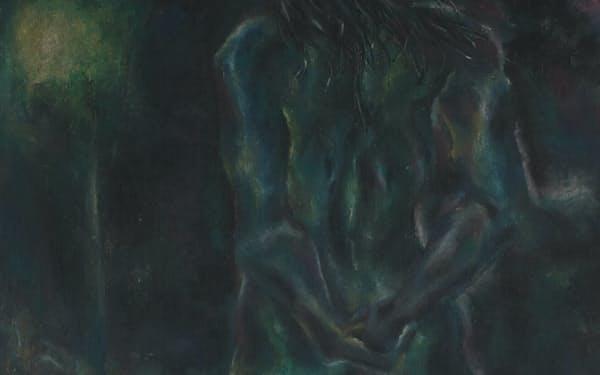 木下晋《起つ》(1964年、114×88センチメートル、クレヨン・ベニヤ板、神奈川県立近代美術館葉山蔵)