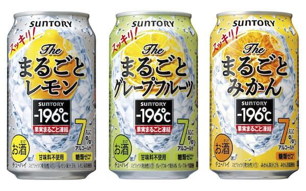 3月末に登場した「-196℃ ザ・まるごとレモン」など新シリーズの3商品