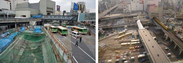 [左]蓋が撤去され、姿を現した渋谷川の暗渠。渋谷駅の東口駅前広場を南側から見る。2014年3月撮影(写真:赤坂麻実) [右]東口駅前広場を、広場の東側に建つ「渋谷ヒカリエ」から見下ろす。写真左端の緑色のネットが掛かった部分で、渋谷川の暗渠の蓋を撤去していた。2014年4月撮影(写真:山崎一邦)
