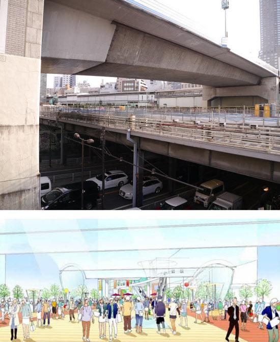 [上]国道246号の上空に架かる旧東横線の高架橋(写真中央)。この高架橋を生かして、渋谷駅と南街区とをつなぐ歩行者専用の横断デッキを設ける 。最も上空に架かるのは首都高速3号渋谷線(写真:山崎一邦) [下]国道246号を横断する歩行者専用デッキの完成パース(資料:東急)