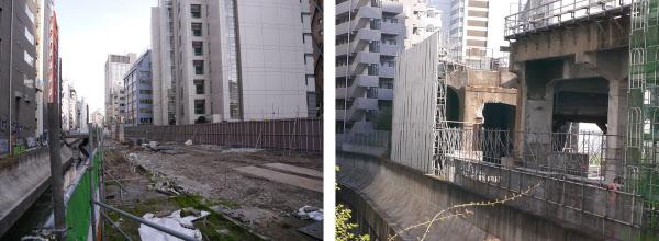 [左]東急東横線の高架橋があった跡地。橋脚などの撤去はほぼ終わっている。写真左側が渋谷川。4月上旬撮影 [右]さらに南側では、旧東横線の高架橋が残っていた。4月上旬撮影(写真:いずれも山崎一邦)