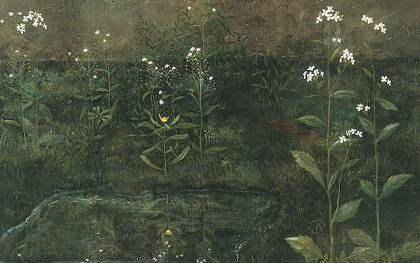 久野和洋《水溜まる》(1985年、145.5×89.4センチメートル、油彩・キャンバス、東京都現代美術館蔵)