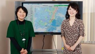 ハレックスの第一事業部気象海象課気象担当の山本ゆめ主任(右)と谷生美奈氏(写真:村田和聡)