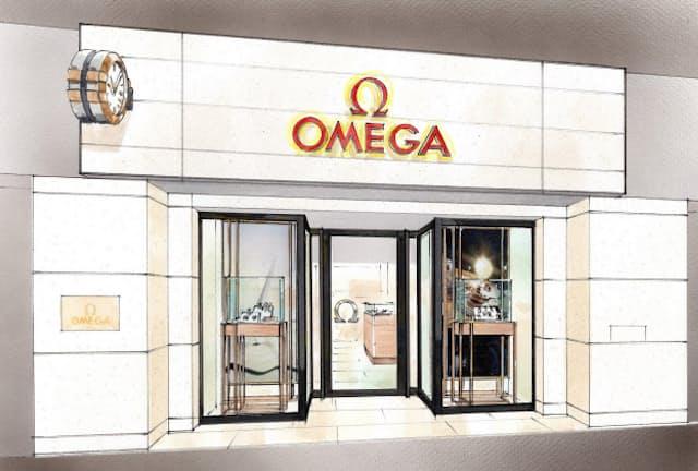 「OMEGA」のロゴと外壁に掛けられた壁時計が印象的なエントランス=イメージ