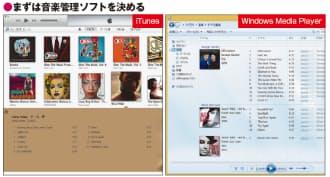 図2 PCオーディオの要となる音楽管理ソフト。定番はアップルの「iTunes」とWindows標準の「Windows Media Player」の2つだ。パソコン上ではどちらを使ってもよい。ポイントは連携する端末で、iPhoneやiPadと連携したいなら前者、Androidスマホならどちらでも大丈夫だ