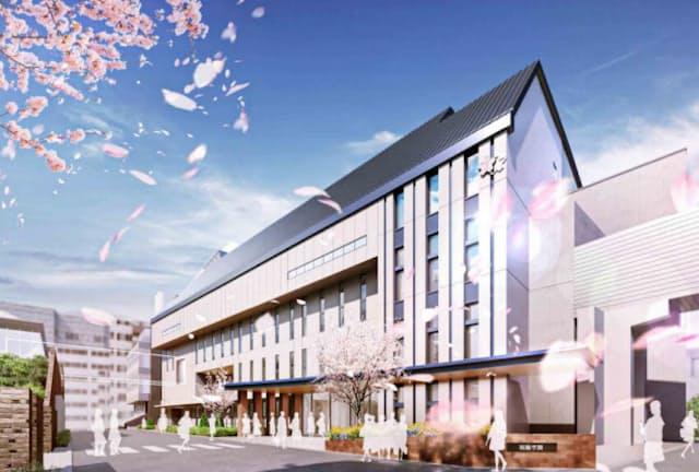 温水プールがある新校舎は2023年に完成する予定(イメージ、学校提供)