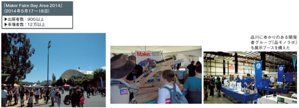 図2  2014年5月に開催された「Maker Faire Bay Area 2014」は、出展者数、来場者数ともに過去最高だった(左と中央の写真:日経BPイノベーションICT研究所、右の写真:品モノラボ)