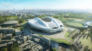 基本設計で固まった新国立競技場の完成予想図。南西側から見る。日建設計・梓設計・日本設計・アラップJVが基本設計を手掛けた(資料:日本スポーツ振興センター)